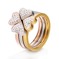 New !high quality wholesale 18k rose gold plated jewelry clover three in one ring CZ crystal Titanium Stainless Steel ring PUR4