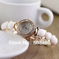 2014 Crystal Bracelet Watch White Pearl Style Watch Metal Ladies Dress Watch,Fashion Unique Design Gril Friend Watch,50pcs/lot