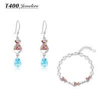 Fashion Jewelry sets!T400 made with AAA zircon,925 sterling silver,earrings/bracelet,women,Colorful fish#2355/3314,free shipping