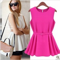 L0386, free drop shipping women chifffon short skirt, lady fashion candy chiffon blouse, pleated short skirt, free belt