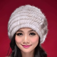 2013 new flower 4 colors  Genuion mink fur cap and hat Factory price