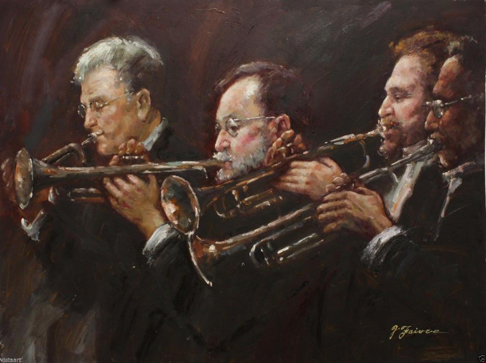 """qualidade pintura a óleo sobre tela 30"""" x40""""- quarteto trompete(China (Mainland))"""
