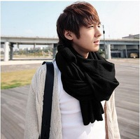 Fashion men Cashmere Scarf Autumn Winter 2013 Pure color warm 100% cotton knit scarf for men