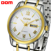DOM Men's wrist watch Dress Hours Automatic self-wind mechanical stainless steel Band water Resistant male gentlemen best Gift