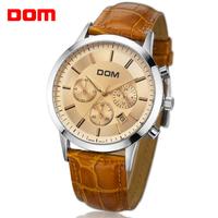 DOM Men's Sport wrist watch Hours Quartz Genuine Leather Band water Resistant Auto Date male gentlemen best Gift MS-301L