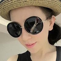 Fashion vintage big circle sun glasses female sunglasses star style big box prince's mirror male glasses