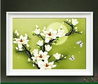 Newly  Arrival  Free  Shipping 3D  Precision printing moonlight Magnolia  Cotton print cross stitch !
