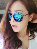 T9 2013mol fashion cool male sunglasses reflective women's big black circular frame metal sunglasses fashion glasses