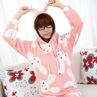 Cartoon with a hood belt sleepwear rascal rabbit ears female winter coral fleece sleepwear long-sleeve women's sleepwear