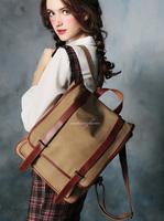 BAZ32 Vintage Washed Canvas green khaki blue Shoulders traval backpack rucksack satchel school work book bag women girl boy men