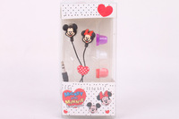 2013 Anime Mickey Minnie Cute Cartoon Cheap Earphone 3.5mm In-ear Cool Earphones Headphone for Mobile with Case Retail Box Gift