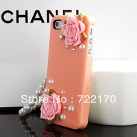 Free shipping! Newest style Fashion rose crystal diamond shell case for ipone5/4s/4 pearl hard skin protecitve cover GZP-C07