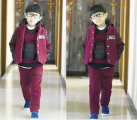 Free Shipping  Boy's fashion korea style set 3pcs/set ,patch work design item no 0195