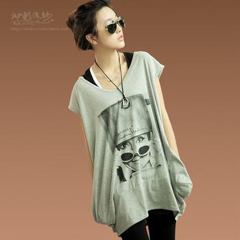 2014 Seconds Kill Top Fasion Print Yarn Autumn Women's Loose Lantern Sweep O-neck Short-sleeve Pocket Long Design T-shirt Female