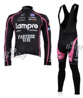 Lampre black Cycling long sleeve Jersey bike clothing and bib pants suit Ciclismo Maillot/ monton Winter Jacket