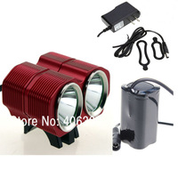 Red Color 2xCree XM-LU2 4-Mode 2000-Lumen 4x18650 battery pack LED Bicycle Front bike Light Set+Free Shipping