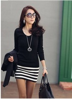 2013 fashion women's autumn winter casual dress long sleeve clothes  women  Primer shirt stripe dress