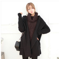 Free Post 2013 winter female hooded cardigan sweater coat jacket and long sections cultivating wild sweater