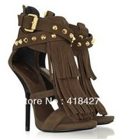 Latest 2013 wild Africa Fringed Studded Suede Sandal sexy curved heel Tassel strap platform pumps genuine leather dress shoe