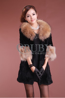 EMS Free Shipping 2013 Natural Rabbit Fur Coat Women Lady Real RACCOON Fur Collar Overcoat Genuine Rabbit Fur Jackets PC03