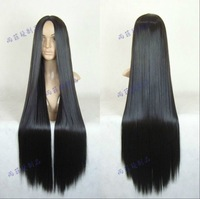 New Fashion sexy Long Black midsplit Cosplay Straight Wig 80CM