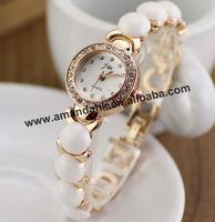 50pcs/lot JW-F284 new fashion pearl bracelet lady metal watch fashion woman rhinestone watch hot sale lady dress wrist watches