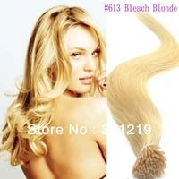 Free Shipping Cheap beauty Very Easy DIY 18.20.22 inch Italian keratin glue stick I-tip human hair extensions #613 Bleach Blonde