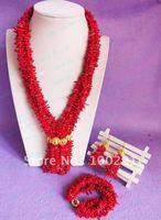 !!! Charm red  coral necklace bracelet earing set