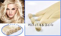 2013 Alibaba Express online sale Brazilian Virgin Human Hair Extensions Weaving 18.20.22.24.26.28.30.32 inch #613 Bleach Blonde