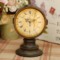 European style antique brass unique iron double face desktop table clcok metal rustic art decoration interior novelty households