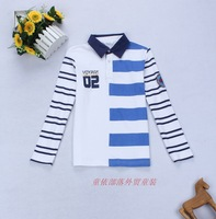 free shipping 2013 children's autumn clothing  male child long-sleeve T-shirt child t-shirt 100% cotton big boy basic shirt