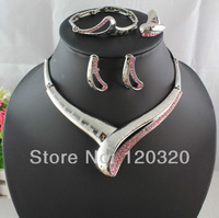 (Min order $10,Mix Order ) Silver Plated Mysterious Charming Pink Rhinestone Necklace Fashion Jewelry Set