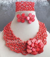 !!!new design beauty african wedding coral jewelry set red leaf necklace bracelet and earring set
