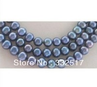 "New fine pearl jewelry Natural AAA 10-11mm tahitian peacock blue pearl necklace 17""18""19""14KG"