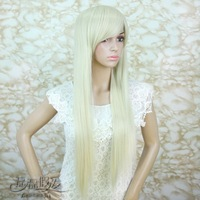 Free Shipping>>>>> Girls white cosplay long straight hair wig