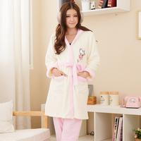 Winter thickening coral fleece cartoon princess sleepwear female long-sleeve with a hood robe twinset lounge set