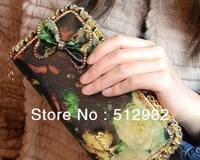 Oil painting printed Fashion women wallet handbag, PU chain hand hold bag , women purses