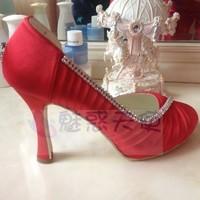 wholesale free shipping autumn winter red wedding bridal shoe rhinestone high heel platform plus size pumps shoes for women 2013