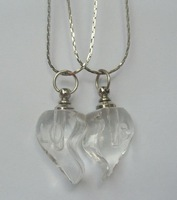 free shipping!!! 100pair/lot Small Perfume oil vial pendant bottle/transparent heart with chain