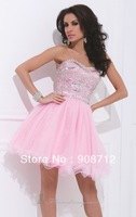 Fashion! Mini Strapless Tulle  Designer Short Party Dress / Cocktail Dress 2013 with Dazzling Beads Decorate the Top Bodice
