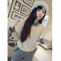 Women's 2013 autumn long-sleeve slim top female corduroy shirt