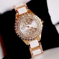 Luxury Crystal Quartz Watch Ceramic  Women rhinestone Watches Gift For girl watches women fashion luxury brands Freeship