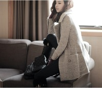 New Women's Popular Woolen Trench Coat Lady Fashion Celebrity Double-breasted Winter Uniform Style Overcoat Thick Jacket