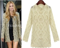 Free Shipping 2013 pearl button cardigan stand collar hollow out sweater cardigan