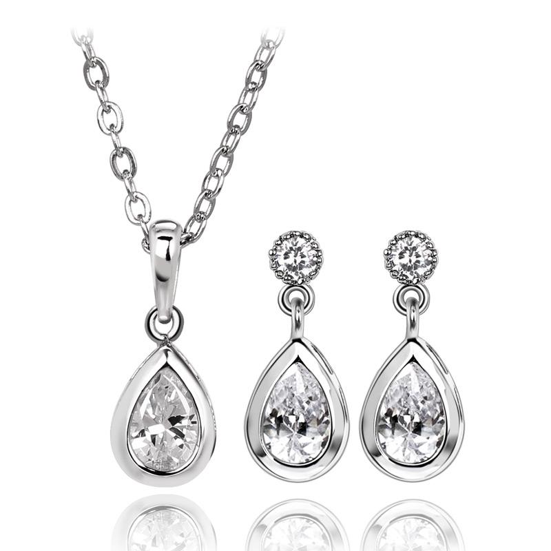 New Design Marriage Accessories Necklace Earrings Set Setting For Women Gift Drop Shape Clear Zircon drop
