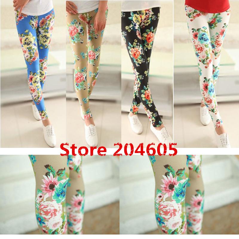 Free Shipping Autumn Winter Flower Pattern Print Fashion Women's Leggings Show Thin Black Skinny Pants 4 Colors(China (Mainland))
