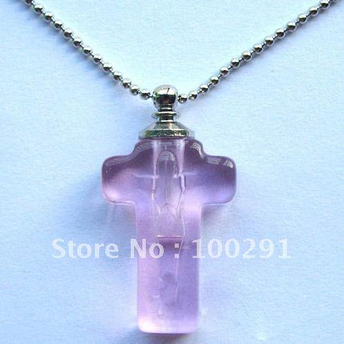 Frete grátis!!! Cor misturada pingente cruz pingente perfume frasco&/cristal pingente(China (Mainland))