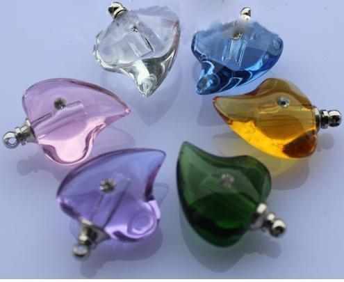 Frete grátis! NOVO! 200pcs cor misturada curva coração pingente de cristal Perfume frasco com zircão em forma de colar(China (Mainland))