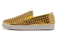 Size:39-46 Men's Red Bottom Gold Leather Low Top Designer Brand Slip-On 2013 Sneakers,Flat Casual Shoes,Fashion Loafers