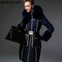 2014 Limited Real No Women Medium Long High-end Large Fox Fur Collar Down Jackets Luxurious Slim Hooded Plus Size 3xl Coat Ems